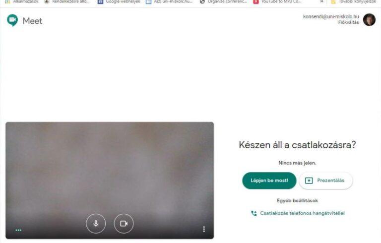 Google Meet videokonferencia a böngészőben: csatlakozás/létrehozás